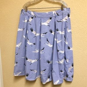 ArtDeco Crain Bird Blue Pleated Striped Skirt